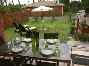 Terrasse de notre location à Vieux-Boucau